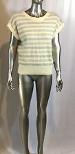 NWT Women's Evan Picone Sweater Wool&Rabbit Hair striped with v neck col ivory s