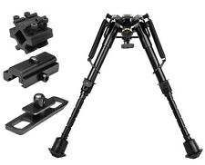 "Harris Style Compact Bi-Pod 6"" - 9"" Notched Legs w/ 3 Adapters For Air Rifle"