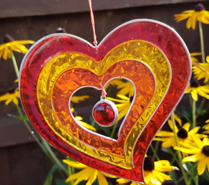 Yellow red orange Heart sun catcher mobile stain glass effect garden decor gifts