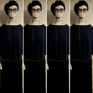 Vintage 1970's LEROSE Black Evening Maxi Dress with Matching Cape. Size 12