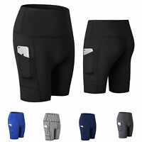 Womens Active Shorts Fitness with Pocket Sports Yoga Running Gym Workout Bottom