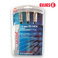 AUX 3.5mm Male to 2 RCA Male Cable Audio Adapter Stereo Headphone Cable 1.5m