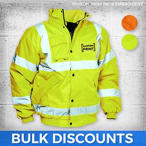 Hi- Viz Bomber Jacket Custom Printed Personalised Wholesale Hi- Vis Safety EN471
