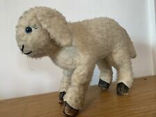 Gorgeous Vintage 50's Toy Lamb  - Leather  Paws Feet  32cm By 22cm