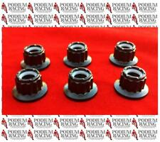 DUCATI BLACK TITANIUM 12 POINT SPROCKET NUTS SET OF 6 LOCKING 1299 PANIGALE