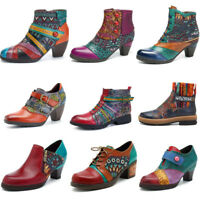 SOCOFY Women Handmade Block Zipper Boots Ankle Genuine Leather Splicing Shoes
