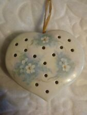 Colectiable Heart Shaped Potpourri Holder, Hand Painted Flowers Artist Signed