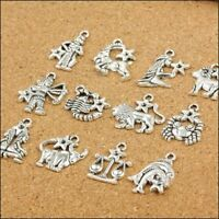 Silver Mixed Zodiac Dangle Beads For Jewelry Making Accessories Charm Pendant