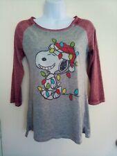 Snoopy Peanuts Christmas Womens 3/4 T Shirt Medium