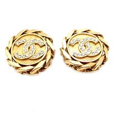 Authentic Chanel France Vintage Large Gold Tone Clip on Logo Rhinestone Earrings