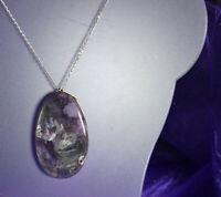 ABRAHAM PAZ Pendant Necklace/Pin 1940s STERLING MEXICO Purple Crazy Lace Agate