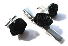 GORGEOUS HANDMADE UNIQUE TIE PIN AND CUFFLINKS SET BLACK ROSE + FREE GIFT BAG