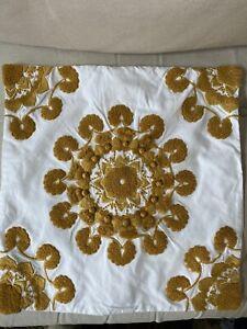 "Pottery Barn Linen Pillow Cover White Gold 19.5"" Square EUC"