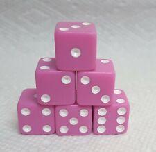 Dice - Koplow's 16mm Square-Cornered Pastels - (6) Purple w/White Pips