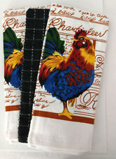 Kitchen Dish Towel Set of 3 Heavy Quality Rooster Farm Country Gift White Blue
