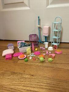 LOT OF Barbie Accessories- Computer, TV, Food, Bathroom Items, Shelf, Books