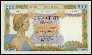 FRANCE SUPERB 500 FRANCS PAX 1942 XF++/AU LARGE SIZE BANKNOTE NO PIN HOLES! RARE