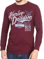 Harley-Davidson Mens Vintage Thunder Chain Maroon Long Sleeve Crew T-Shirt