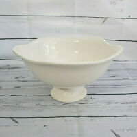 """Pottery Barn Emma Footed Fruit Bowl Serving Bowl White 12"""" wide 6.5"""" high"""