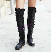 New Womens Suede Leather Cuban Heels Roman Zip Knee High Boots Motorcycle Shoes