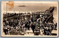 Postcard RPPC c1920s Oceanside CA New Pier Opening Day Navy Ship Irwin Photo