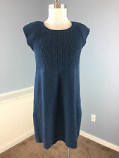 THEORY Blue Ribbed Sheath Sweater Dress M L Excellent 100% WOOL Career Cocktail