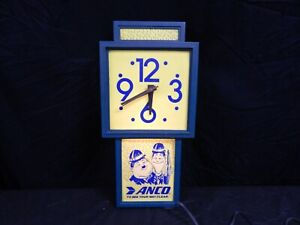 VINTAGE ANCO WIPERS LAUREL & HARDY ADVERTISING LIGHT UP CLOCK