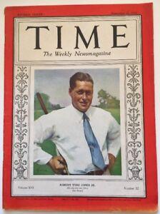 1930 Time Magazine Bobby Jones Cover Sep 22, 1930
