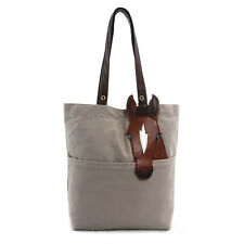 """Chestnut Horse on Beige Canvas Tote Bag Brown and White Horse Shopper Bag 13x14"""""""