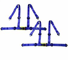 2 x SPORTS RACING HARNESS SEAT BELT 3 4 POINT FIXING MOUNTING BLUE QUICK RELEASE