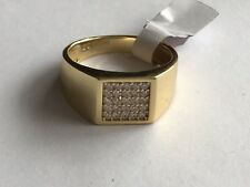 Gold Plated 925 Mens Square Ring New Size S