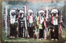 Native American 1910 Postcard: Sioux Indian Chiefs, Full-Headdress