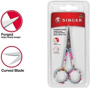 "Singer 4"" Forged Embroidery scissor, Curved tip, Pastel OR Floral Pattern"