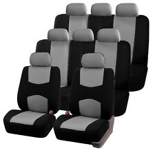 Gray 3 Row Flat Cloth Car Seat Covers (2 Bucket Covers, 2 Bench Cover)