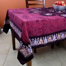 Multi Batik Floral Paisley Tablecloth Rectangular Cotton 60x90 inches Burgundy