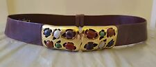 Vintage Judith Leiber Snake skin Leather Belt With Semi Precious Stones