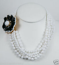 Kenneth Jay Lane 5 row white beads black/white center flower clasp necklace