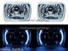 7X6 White LED Halo Halogen Crystal Clear Headlights Angel Eye Light H4 Bulbs Pr