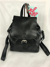 New Co-Lab Christopher Kon Black Leather Flap Over Drawstring Backpack Bag 4350
