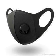 5 x Face Mask Valved Washable Reusable Breathable Anti Dust Face Cover Black