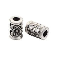 45 Metallperlen 7mm Tube / Röhre Spacer Zwischenteile Tibet Silber Perlen F196#3