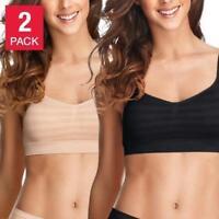 NIB Women's Black/Light JOCKEY 2 Seamfree Bralettes Microfiber Stretch Size S