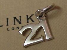 New in box genuine Links of London 21st birthday 21 charm hallmarked RRP £40