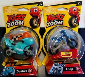 RICKY ZOOM 2021 DASHER & LOOP TOMY TOYS FREE STANDING / WHEELING MOTORCYCLES LOT