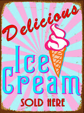 Delizioso gelato retrò in metallo Tin sign Targa Poster Garage Muro Decor A4