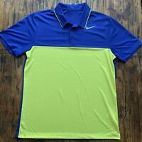 Mens Nike Golf Dri-Fit Blue Green Short Sleeve Polo Shirt Medium M Standard Fit