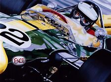 Jim Clark 90 x 70 cms limited edition  F1 art print by Colin Carter
