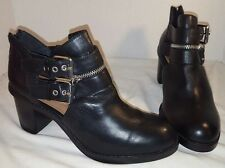 NEW DV BY DOLCE VITA BLACK CLARK LEATHER ANKLE BOOTS BOOTIES US SIZE 8