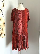 NWT JUST CAVALLI 100% VISCOSE RED/MULTI-COLOR DRESS SZ 44 MADE IN ITALY