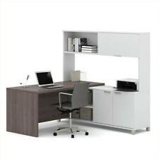 Bestar Pro-Linea L-Desk with Hutch with Doors in White and Bark Grey